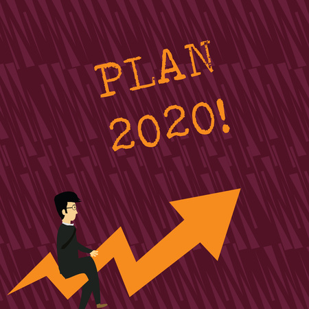 Text sign showing Plan 2020. Business photo showcasing detailed proposal doing achieving something next year Businessman with Eyeglasses Riding Crooked Color Arrow Pointing Going Up Reklamní fotografie