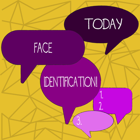 Writing note showing Face Identification. Business concept for analyzing patterns based on the demonstrating s is facial contours Speech Bubble in Different Sizes and Shade Group Discussion