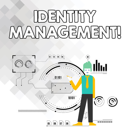Word writing text Identity Management. Business photo showcasing administration of individual identities within a system Man Standing Holding Pen Pointing to Chart Diagram with SEO Process Icons 版權商用圖片