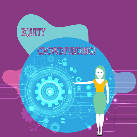 Text sign showing Equity Crowdfunding. Business photo text raising capital used by startups and earlystage company Woman Standing and Presenting the SEO Process with Cog Wheel Gear inside