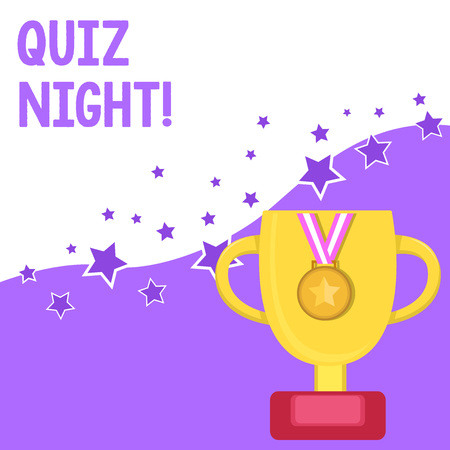 Text sign showing Quiz Night. Business photo text evening test knowledge competition between individuals 版權商用圖片