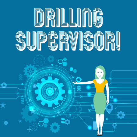 Text sign showing Drilling Supervisor. Business photo showcasing in charge of commercial oil drilling work and process Woman Standing and Presenting the SEO Process with Cog Wheel Gear inside 版權商用圖片
