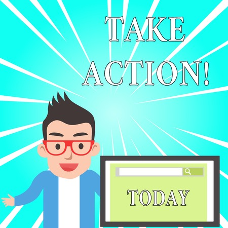 Text sign showing Take Action. Business photo text do something official or concerted to achieve aim with problem