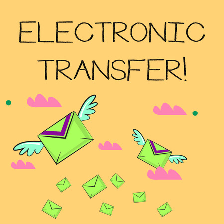 Word writing text Electronic Transfer. Business photo showcasing transaction that takes place over a computerized network Many Colorful Airmail Flying Letter Envelopes and Two of Them with Wings Standard-Bild