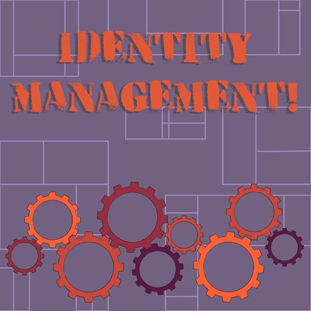 Text sign showing Identity Management. Business photo showcasing administration of individual identities within a system Colorful Cog Wheel Gear Engaging, Interlocking and Tesselating Flat Style
