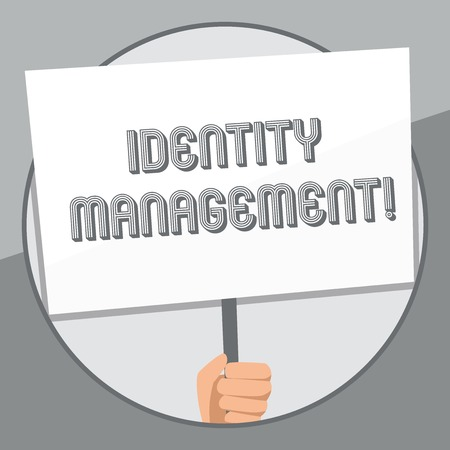 Word writing text Identity Management. Business photo showcasing administration of individual identities within a system Hand Holding Blank White Placard Supported by Handle for Social Awareness 版權商用圖片