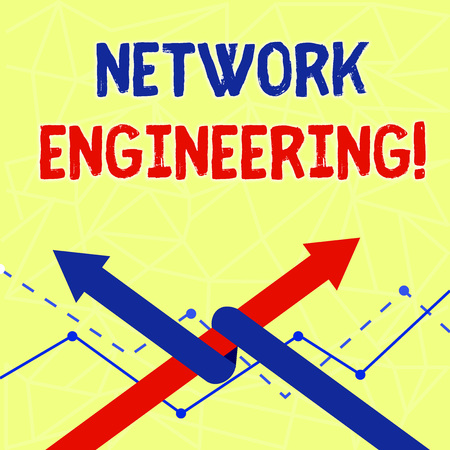 Writing note showing Network Engineering. Business concept for field concerned with internetworking service requirement Two Arrows One Intertwined to Other Team Up or Competition