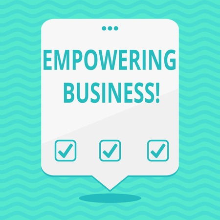 Text sign showing Empowering Business. Business photo showcasing creating an environment that fosters growth of business Blank Space White Speech Balloon Floating with Three Punched Holes on Top Banco de Imagens