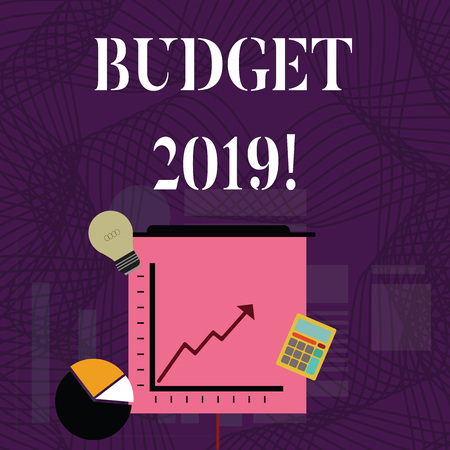 Text sign showing Budget 2019. Business photo showcasing estimate of income and expenditure for current year Investment Icons of Pie and Line Chart with Arrow Going Up, Bulb, Calculator