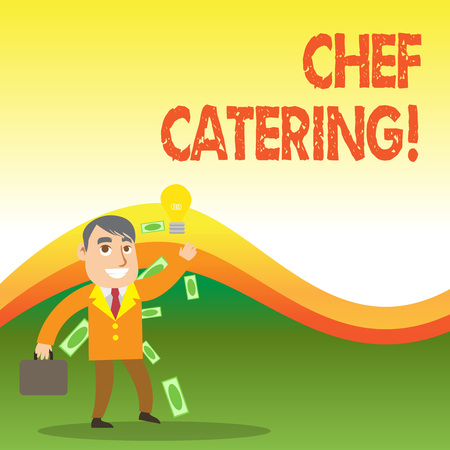 Text sign showing Chef Catering. Business photo showcasing Provides services, food and beverages for various events