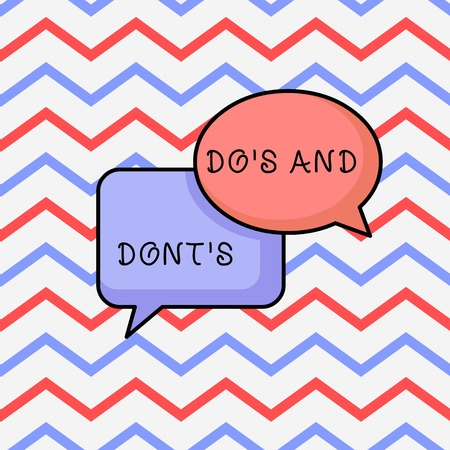 Writing note showing Do S And Dont S. Business concept for Rules or customs concerning some activity or actions