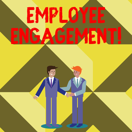 Conceptual hand writing showing Employee Engagement. Concept meaning relationship between an organization and its employees Businessmen Smiling and Greeting each other by Handshaking