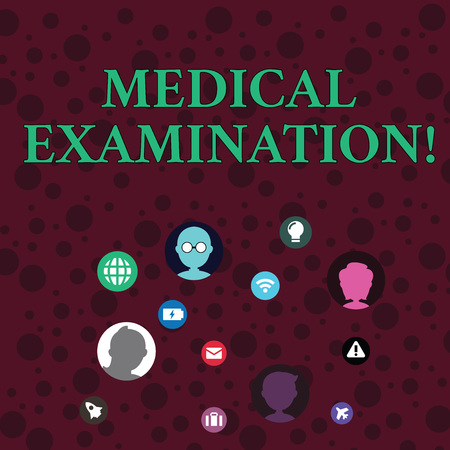 Conceptual hand writing showing Medical Examination. Concept meaning Checkup carried out to determine the physical fitness Networking Technical Icons Chat Heads on Screen for Link Up
