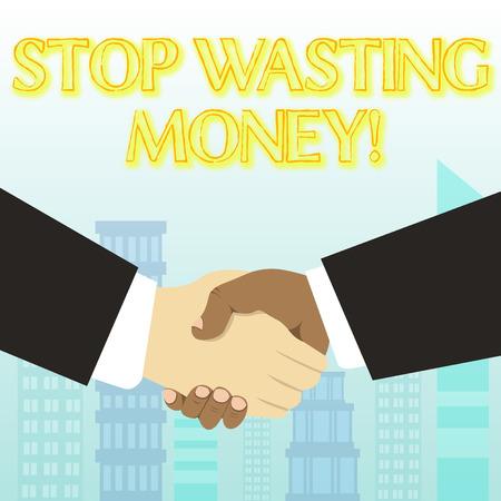 La grafia la scrittura di testo smettere di sprecare denaro. Consulenza fotografica concettuale che dimostra o raggruppa per iniziare a salvarla e usarla con saggezza Archivio Fotografico
