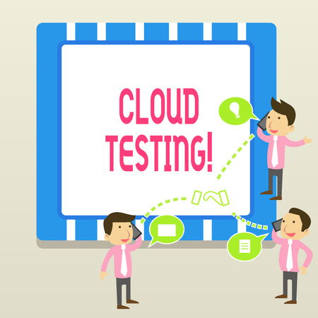 Word writing text Cloud Testing. Business photo showcasing is the assessment of a Web application s is perforanalysisce Banco de Imagens