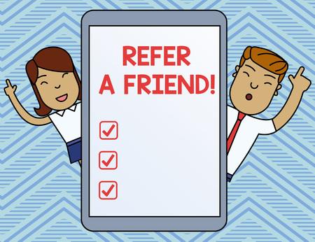 Escritura de texto Word refiera a un amigo. Foto de negocios mostrando dirigir a alguien a otro o enviarle algo como un regalo