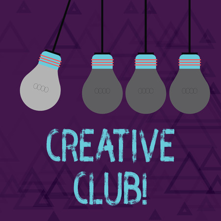 Writing note showing Creative Club. Business concept for an organization that simulate interest in creative ideas Color Pendant Bulb Hanging with One Different Shade Lightbulb Imagens - 122722406