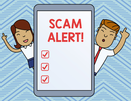 Word writing text Scam Alert. Business photo showcasing fraudulently obtain money from victim by persuading him