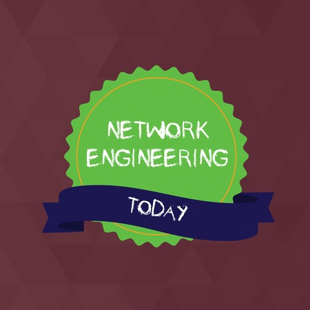 Writing note showing Network Engineering. Business concept for field concerned with internetworking service requirement Color Seal Sticker with Jagged Edge and Shaded Ribbon Strip Imagens