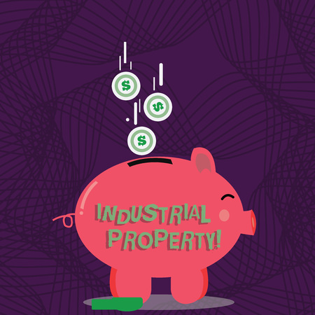 Text sign showing Industrial Property. Business photo showcasing the intangible ownership of a trademark or patent Color Piggy Bank Sideview and Dollar Currency Coins Falling Down to the Slit