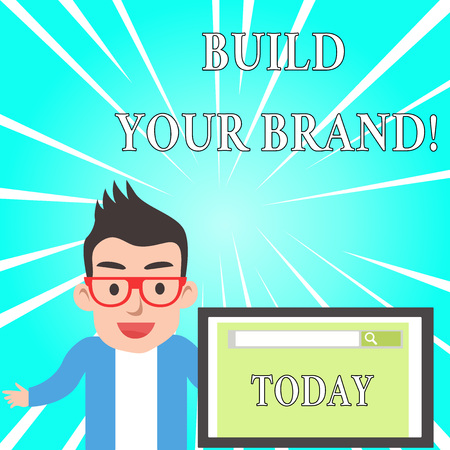 Text sign showing Build Your Brand. Business photo text creates or improves customers knowledge and opinions of product