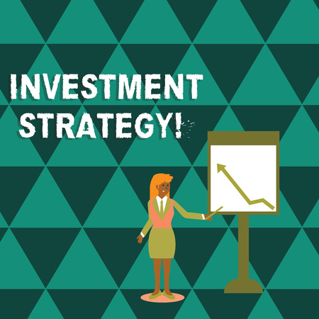 Writing note showing Investment Strategy. Business concept for the systematic plan to allocate investable assets Woman Holding Stick Pointing to Chart of Arrow on Whiteboard
