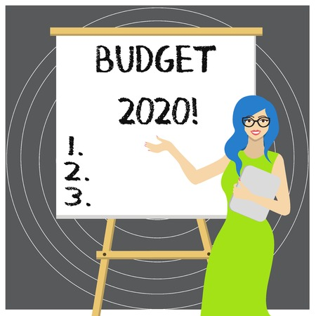 Writing note showing Budget 2020. Business concept for estimate of income and expenditure for next or current year Imagens