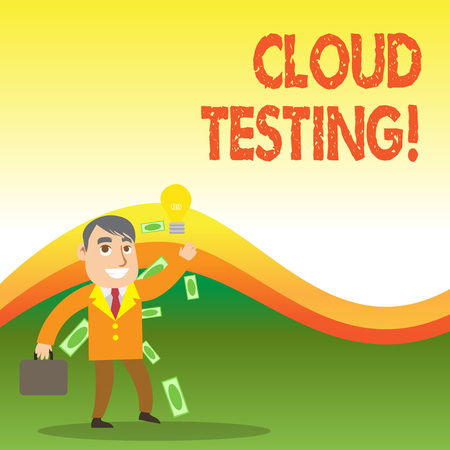 Text sign showing Cloud Testing. Business photo showcasing is the assessment of a Web application s is perforanalysisce