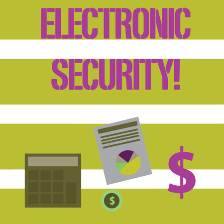 Text sign showing Electronic Security. Business photo text electronic equipment that perform security operations Computing Dollar Investment in Gold and Presenting Data thru Pie Chart Graph