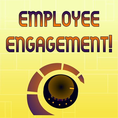 Handwriting text Employee Engagement. Conceptual photo relationship between an organization and its employees Volume Control Metal Knob with Marker Line and Colorful Loudness Indicator Stock fotó