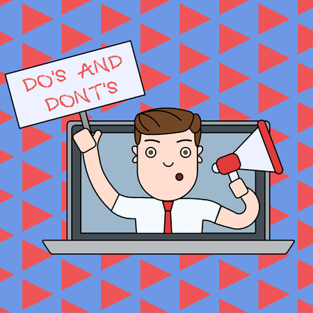 Text sign showing Do S And Dont S. Business photo text Rules or customs concerning some activity or actions