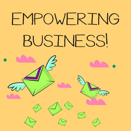 Word writing text Empowering Business. Business photo showcasing creating an environment that fosters growth of business Many Colorful Airmail Flying Letter Envelopes and Two of Them with Wings