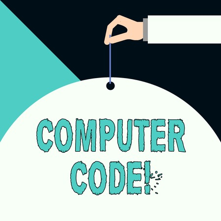Writing note showing Computer Code. Business concept for Set of instructions forming a computer program to execute