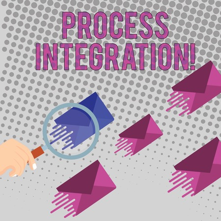 Conceptual hand writing showing Process Integration. Concept meaning sharing of data and events between business processes Magnifying Glass on Color Envelope and others has Same Shade