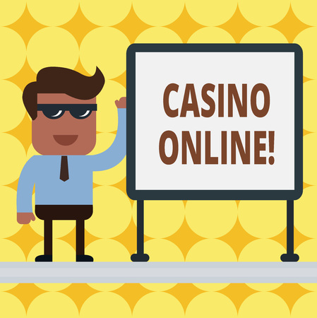 Writing note showing Casino Online. Business concept for gamblers can play and wager on casino games through online