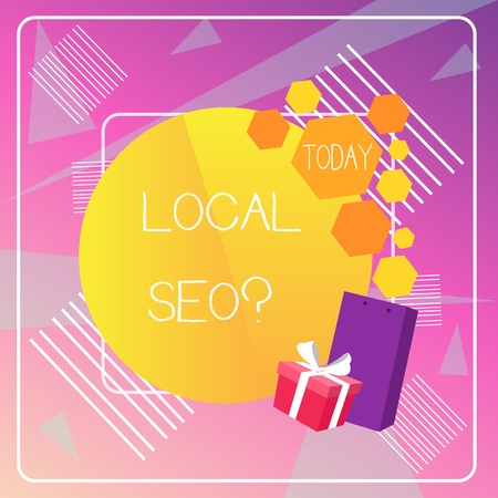 Word writing text Local Seo question. Business photo showcasing incredibly effective way to market your local business online Banco de Imagens