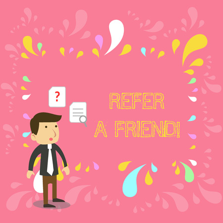 Conceptual hand writing showing Refer A Friend. Concept meaning direct someone to another or send him something like gift