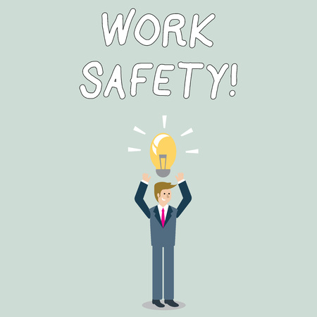 Word writing text Work Safety. Business photo showcasing policies and procedures in place to ensure health of employees Businessman Standing Raising Arms Upward with Lighted Bulb Icon on his Head
