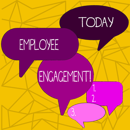 Writing note showing Employee Engagement. Business concept for relationship between an organization and its employees Speech Bubble in Different Sizes and Shade Group Discussion