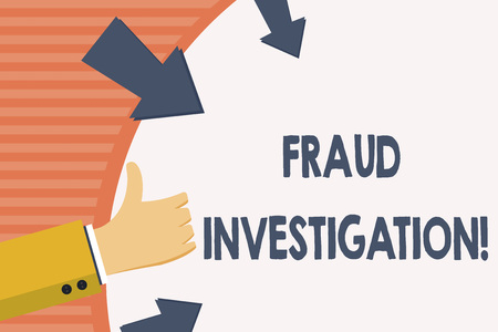 Word writing text Fraud Investigation. Business photo showcasing process of determining whether a scam has taken place Hand Gesturing Thumbs Up and Holding on Blank Space Round Shape with Arrows Фото со стока
