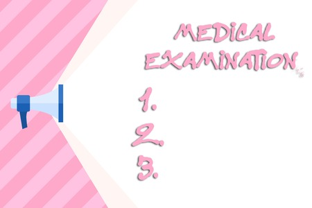 Writing note showing Medical Examination. Business concept for Checkup carried out to determine the physical fitness Megaphone Extending Capacity of Volume Range thru Wide Beam Imagens - 122724494