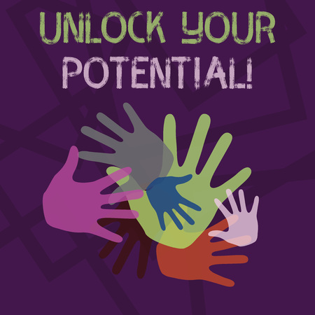 Word writing text Unlock Your Potential. Business photo showcasing release possibilities Education and good training is key Color Hand Marks of Different Sizes Overlapping for Teamwork and Creativity