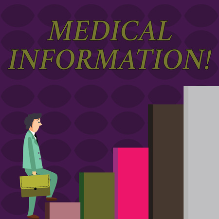 Text sign showing Medical Information. Business photo showcasing Healthrelated information of a patient or a demonstrating Businessman Carrying a Briefcase is in Pensive Expression while Climbing Up Фото со стока