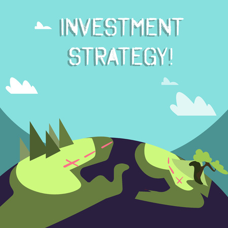 Word writing text Investment Strategy. Business photo showcasing the systematic plan to allocate investable assets Mountain View with Marked Hiking Trail and Trekking Tracks for Outdoor Ads