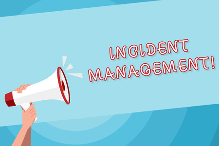 Text sign showing Incident Management. Business photo text Activities of a company to identify and correct hazards Human Hand Holding Tightly a Megaphone with Sound Icon and Blank Text Space