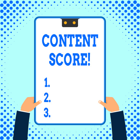 Text sign showing Content Score. Business photo text aggregated predictor for the competitiveness of online content