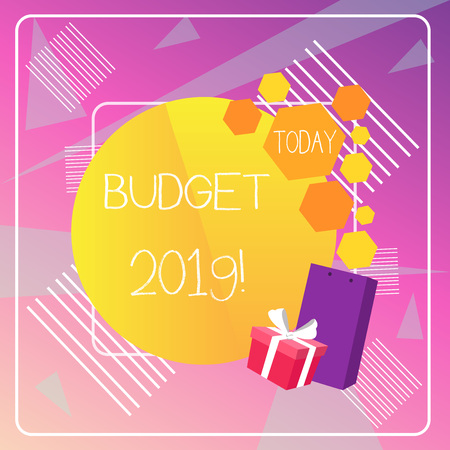Word writing text Budget 2019. Business photo showcasing estimate of income and expenditure for current year Reklamní fotografie - 122724705