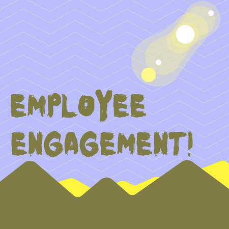 Word writing text Employee Engagement. Business photo showcasing relationship between an organization and its employees View of Colorful Mountains and Hills with Lunar and Solar Eclipse Happening Imagens