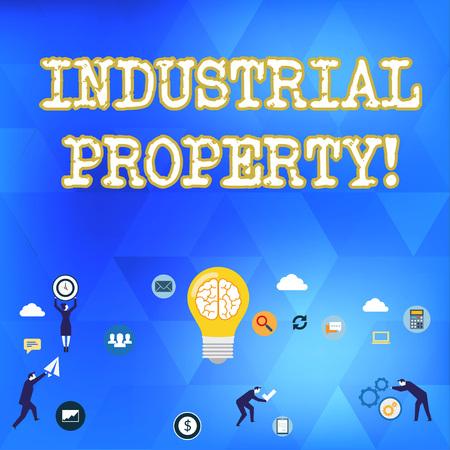 Escritura de texto de propiedad industrial. Fotografía conceptual de la propiedad intangible de una marca comercial o patente Símbolo, elemento, campaña e iconos planos de concepto de marketing digital empresarial