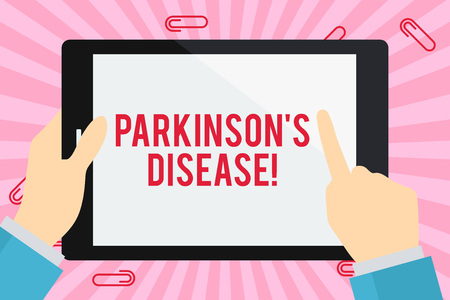 Word writing text Parkinson S Is Disease. Business photo showcasing nervous system disorder that affects movement Businessman Hand Holding, Pointing and Touching Colorful Tablet Blank Screen